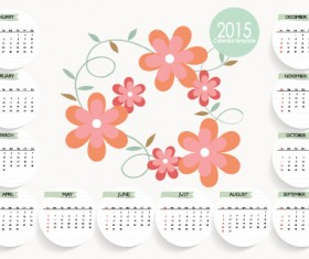 Cute flower with 2015 card calendar vector