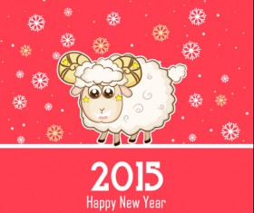 Cute sheep and pink 2015 new year background