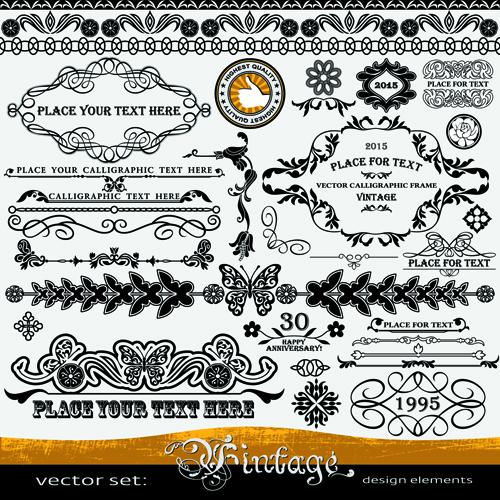Decorative vintage border and frame vector 01