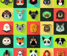 Different animal head icons vector set 01
