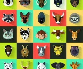 Different animal head icons vector set 02