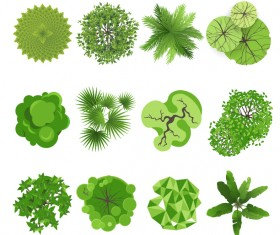 Different green trees icons vector 01