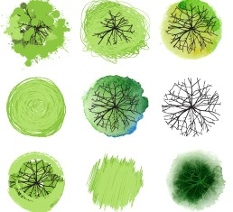 Different green trees icons vector 02
