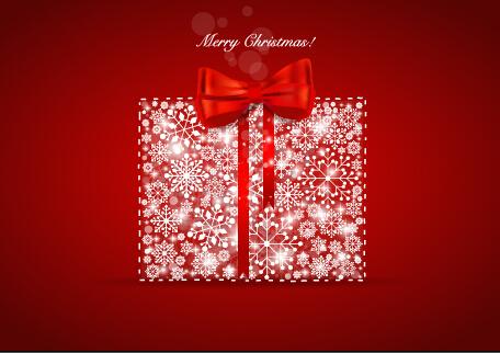 Elegant red background 2015 christmas creative vector 01