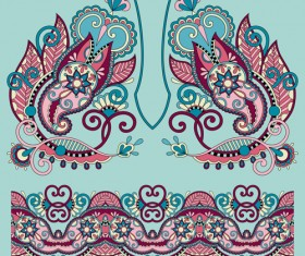 Ethnic decorative pattern floral vector 02
