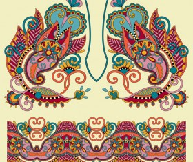 Ethnic decorative pattern floral vector 03