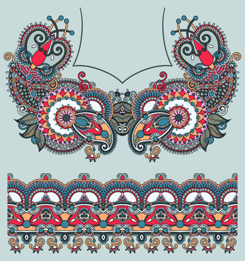 Ethnic decorative pattern floral vector 04
