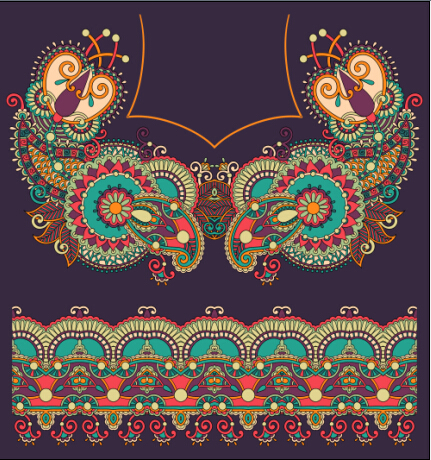 Ethnic decorative pattern floral vector 05
