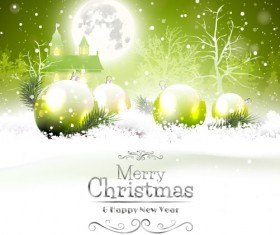 Fairytale christmas background with green xmas ball vector