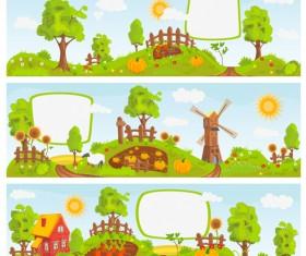 Fairytale town scenery banner vector 01
