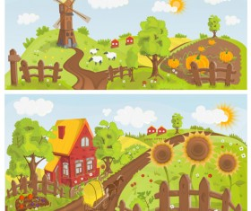 Fairytale town scenery banner vector 02