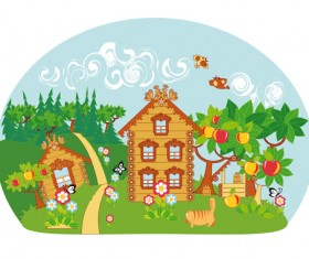 Fairytale town scenery vector material 02