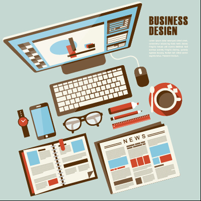 Flat office business template vector material 09