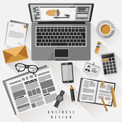 Flat office business template vector material 10
