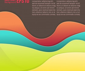 Flowing lines waves colored background vector 03