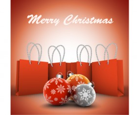 Flral christmas ball with shopping bags vector background