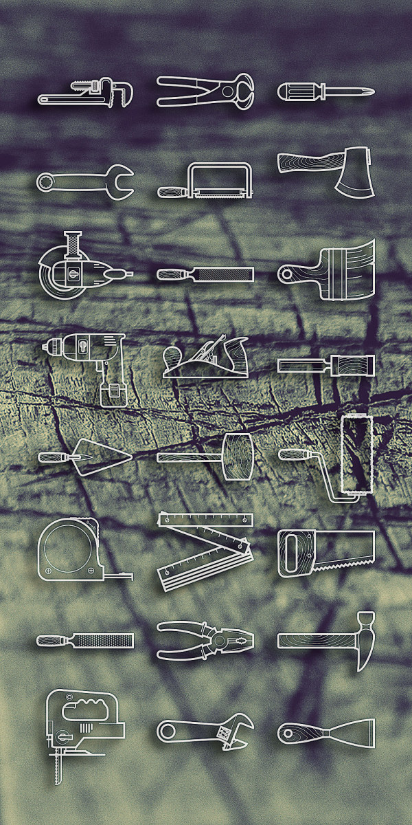 Free Tools outline icon set