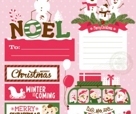 Funny christmas cartoon elements vector 03