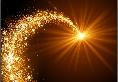 Golden light and snowflake christmas vector background