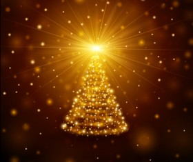 Golden light christmas tree background vector material