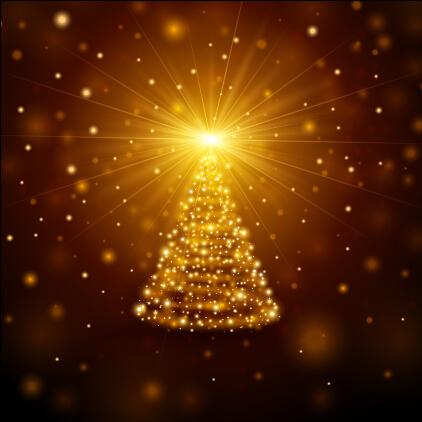 Golden light christmas tree background vector material
