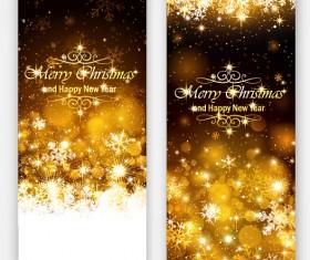 Golden light with snowflake christmas vertical banner vector