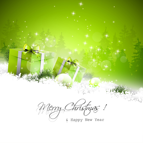 green style christmas and new year vector background 01