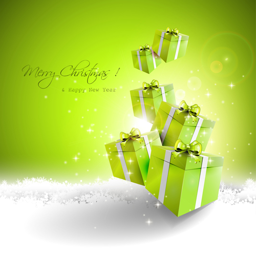 green style christmas and new year vector background 02