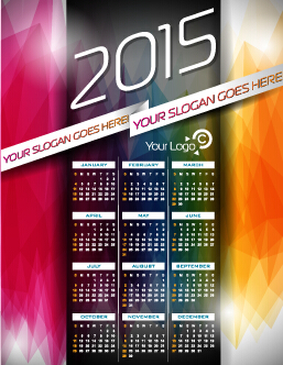 Grid calendar 2015 with abstract background vector 01