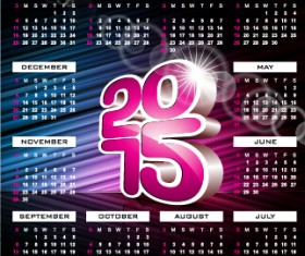 Grid calendar 2015 with abstract background vector 02