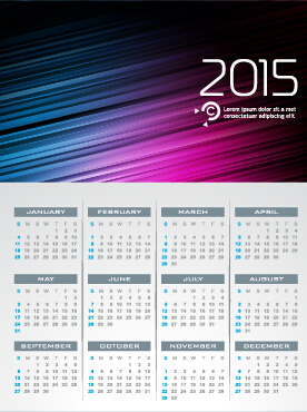 Grid calendar 2015 with abstract background vector 03