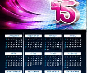 Grid calendar 2015 with abstract background vector 04
