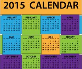 Grid colored calendar 2015 vector