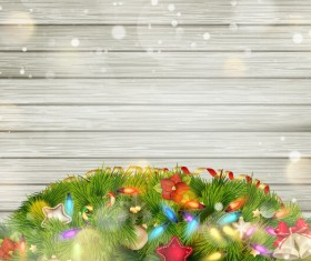 Halation christmas wood background with baubles vector