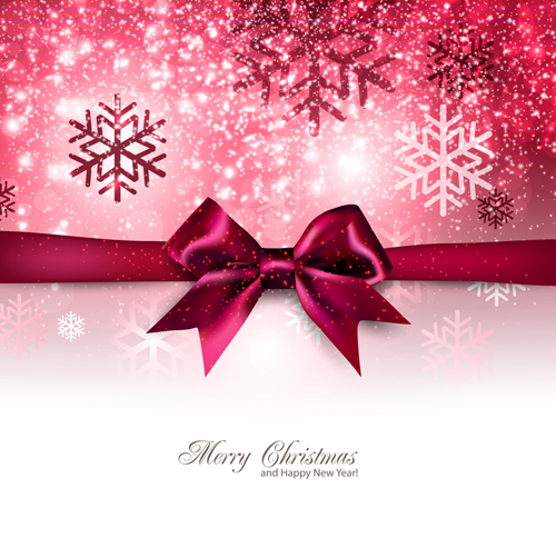 happy new year and christmas bow gift card 04