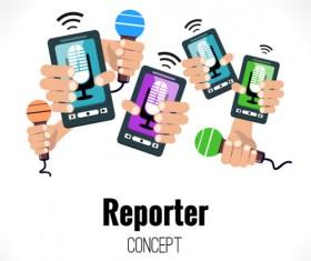 Interview reporter design background vector