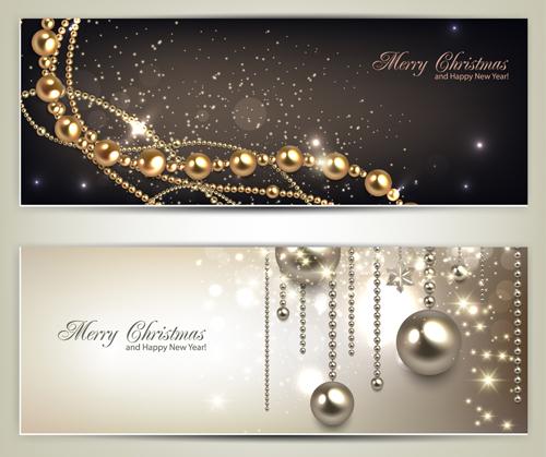 Luxury Jewelry christmas banners vector set 01 - Vector