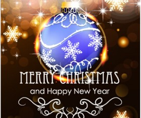 Merry christmas and new year greeting cards vectors 02