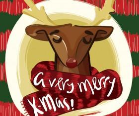Merry christmas reindeer vector material