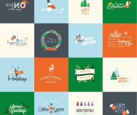 Merry christmas with holiday logos vintage design vector