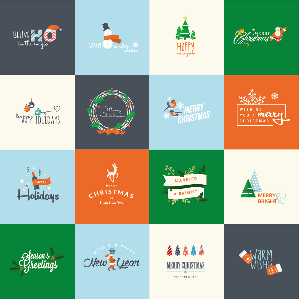 merry christmas with holiday logos vintage design vector - Merry Christmas Logos