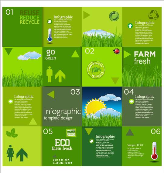 Modern ecology infographics green template vector 03
