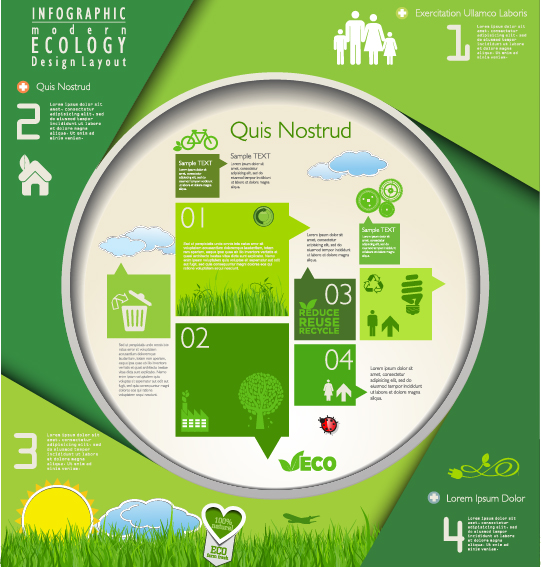 Modern ecology infographics green template vector 04