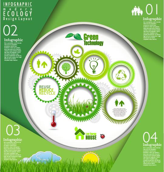 Modern ecology infographics green template vector 05