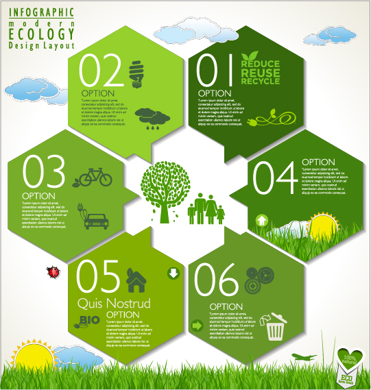 modern ecology infographics green template vector 06 free download