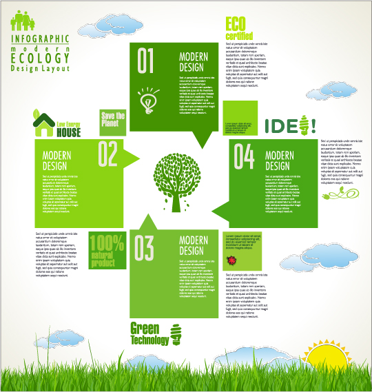 Modern ecology infographics green template vector 07