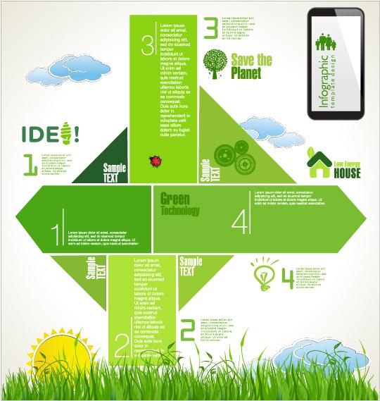 Modern ecology infographics green template vector 08