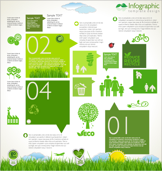 Modern ecology infographics green template vector 09