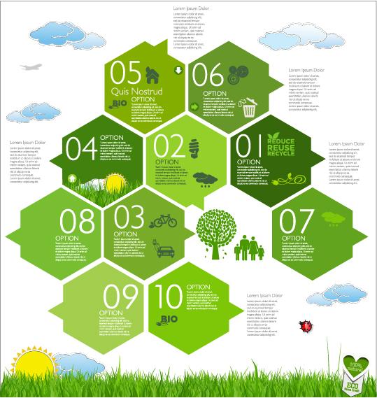 Modern ecology infographics green template vector 10