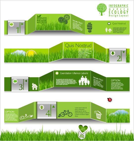 Modern ecology infographics green template vector 11